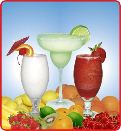 Three Frozen Cocktails in Glasses with Fruit Garnishes