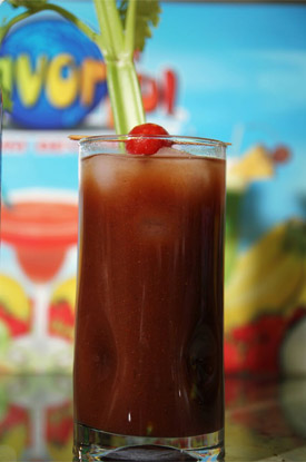 Bloody Mary with Celery and Tomato Garnish