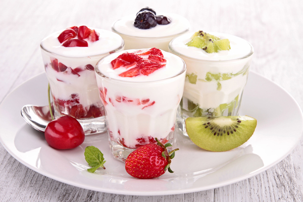Plate of Fresh Fruit Yogurt Parfaits